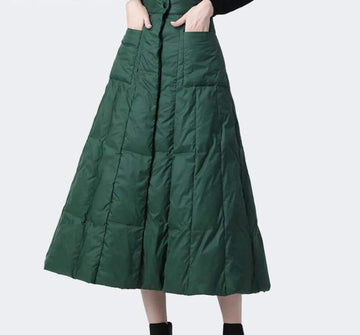 [leggycozy] Elegant Green High Waist A Line Long Duck Down Skirt -Plus Size