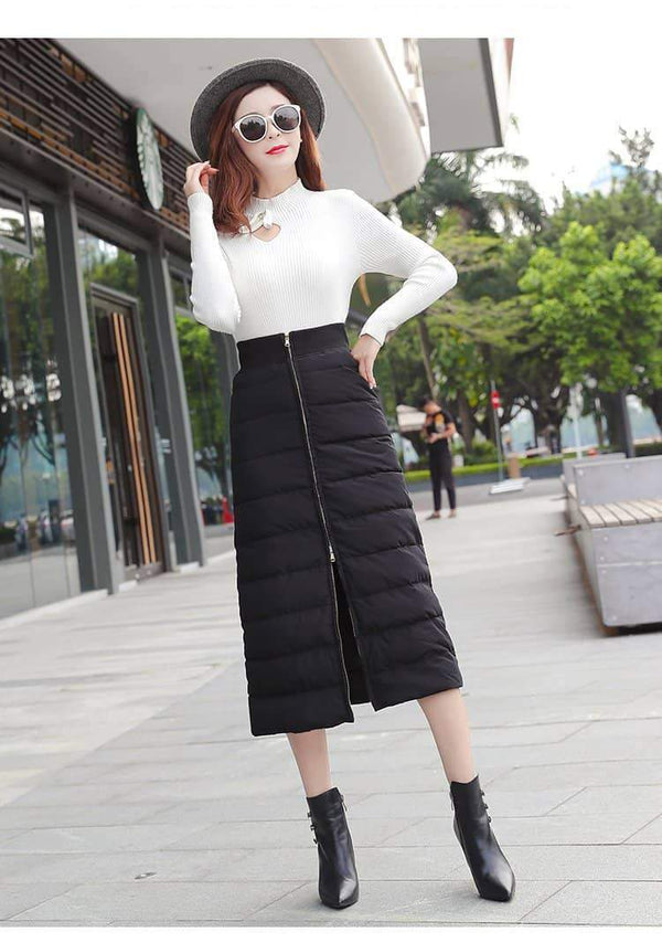 leggycozy Skirt [leggycozy] Elegant High Waist Zippered Down Cotton Skirt -Plus Size 4XL