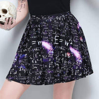 leggycozy Skirt [leggycozy] Gothic Style Letter Print Pleated High Waist Skater Mini Skirt