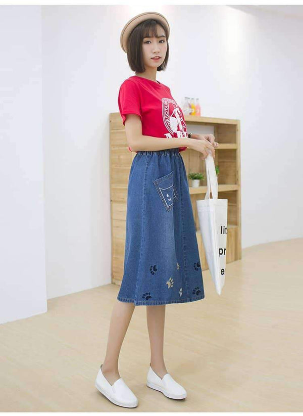 leggycozy Skirt [leggycozy] Harajuku Kawaii Cat Embroidery Loose Denim Skirt