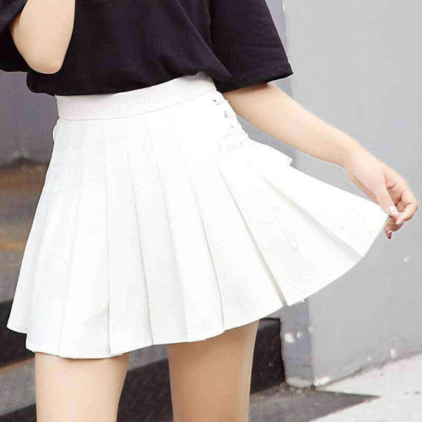 leggycozy Skirt [leggycozy] Harajuku Preppy Style High Waist Pleated Mini Skirt -White Black Pink
