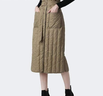 [leggycozy] High Waist A-Line Lace-Up Warm Duck Down Skirt with Pockets Belt -Plus Size