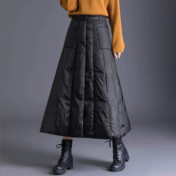 [leggycozy] High Waist Vintage Solid A-Line Duck Down Skirt