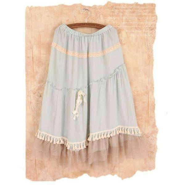 leggycozy Skirt [leggycozy] Japanese Pure Color Cotton Linen Tassel Skirt with Lace & Ruffles