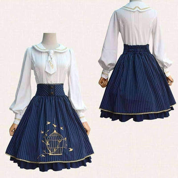 [leggycozy] Japanese Sweet Classical Striped Lace Embroidery Slim Skirt