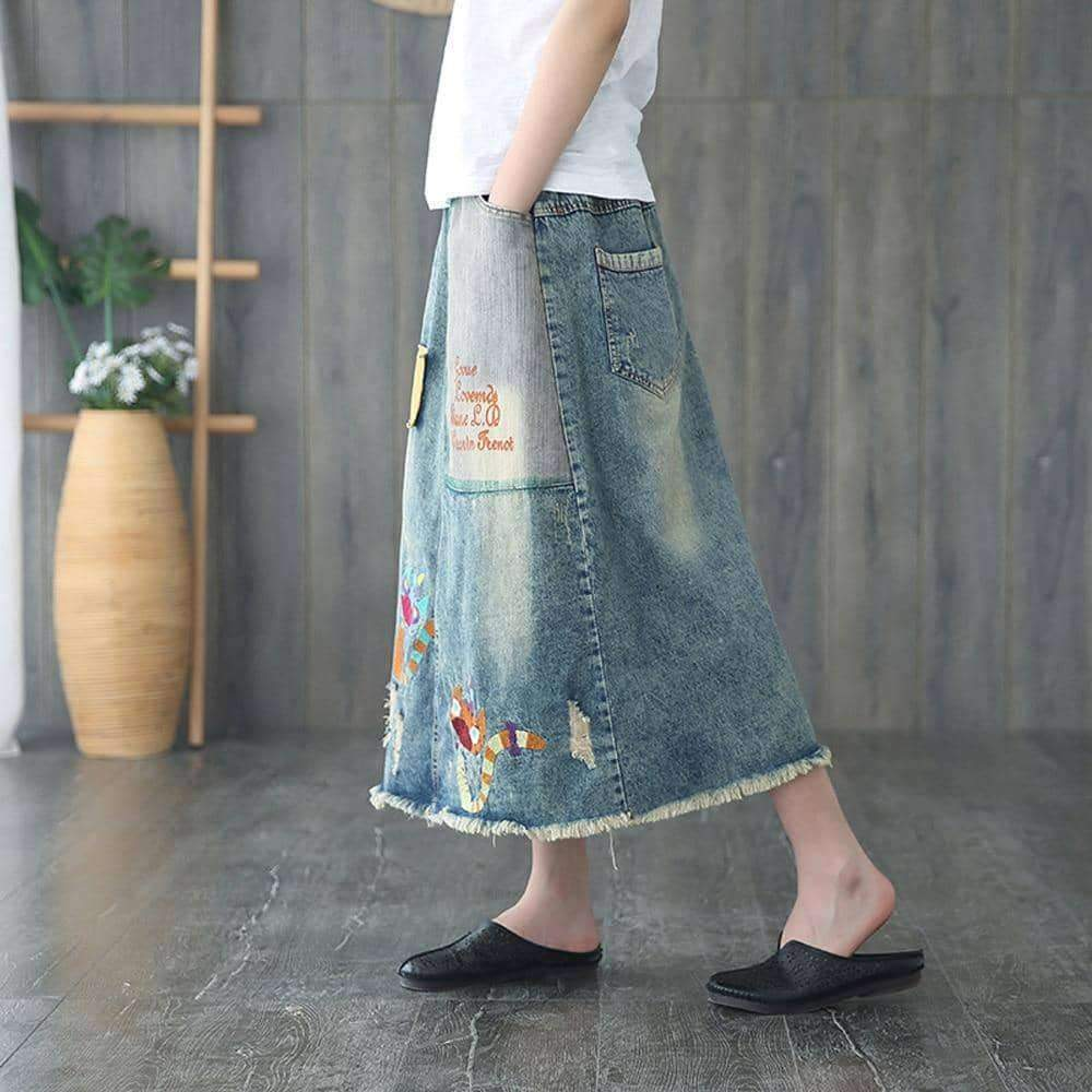 leggycozy Skirt [leggycozy] Kawaii Cartoon Embroidery Vintage A-line Denim Maxi Skirt -Plus Size