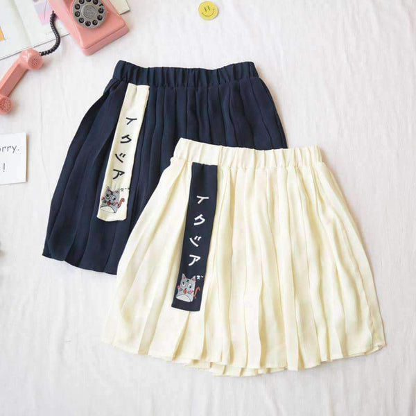 leggycozy Skirt [leggycozy] Kawaii Cute Cat Embroidery High Waist Pleated Mini Skirt