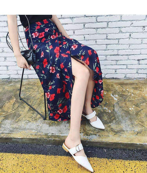 leggycozy Skirt [leggycozy] Kawaii Floral Pattern High Waist Slim Long Chiffon Lining Skirt