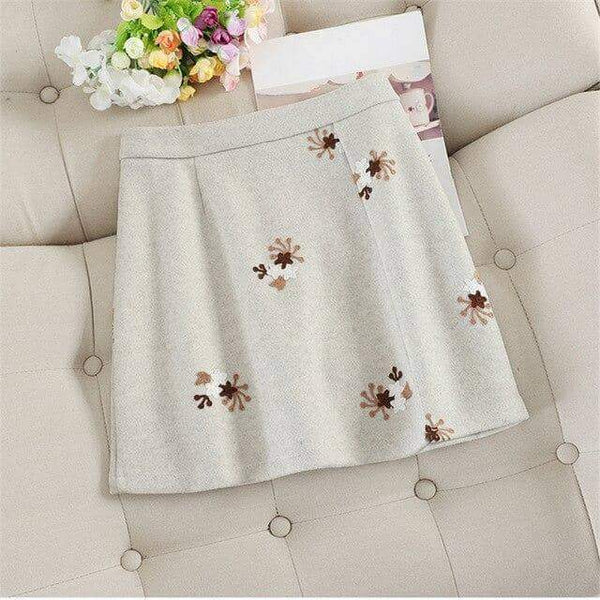 leggycozy Skirt [leggycozy] Kawaii Sweet Embroidery Floral A-line High Waist Mini Skirt