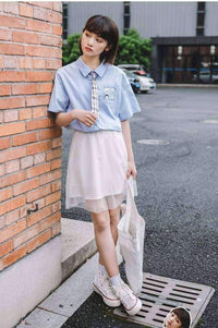 leggycozy Skirt [leggycozy] Korean Fashion Summer Mesh White A-Shaped Skirt