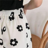 leggycozy Skirt [leggycozy] Korean High Waist Floral Pattern A-Line Empire Mid-Calf Skirt