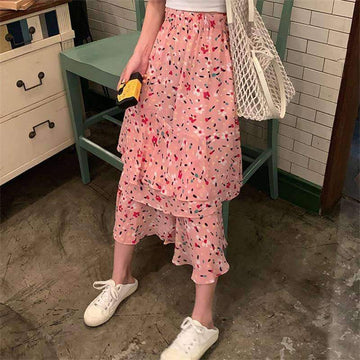 [leggycozy] Korean Lovely Irregular Floral Pattern High Waist Cake Skirt