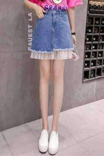 leggycozy Skirt [leggycozy] Korean Style Denim A-line Lace Skirt