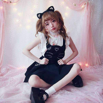 [leggycozy] Princess Sweet Adorable Cat Meow Suspender Skirt