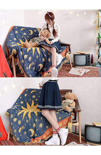 leggycozy Skirt [leggycozy] Princess Sweet Anchor Embroidery Elastic Waist Navy Skirt