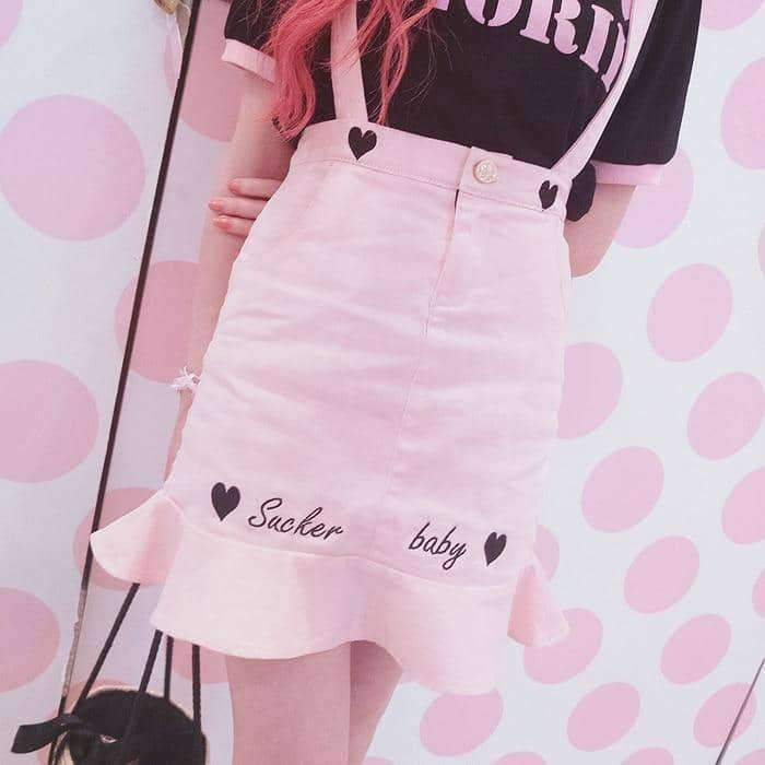 [leggycozy] Princess Sweet Embroidery Letters Candy Jeans Braces Skirt