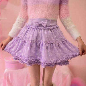 Open image in slideshow, [leggycozy] Princess Sweet Lace & Bow-Tie Ball Gown Mini Skirt -White / Purple