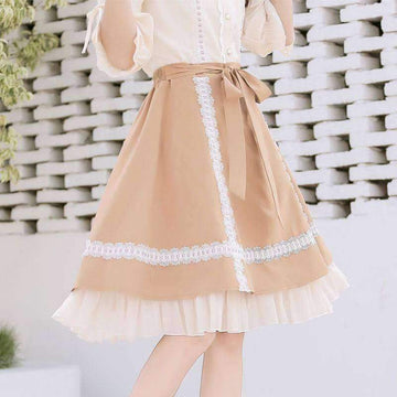 [leggycozy] Sweet Student Ruched Embroidery Lace A-Line Skirt with Waist Belted