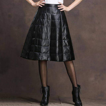 [leggycozy] Thick Warm Sheepskin Genuine Leather A-Line Duck Down Skirt