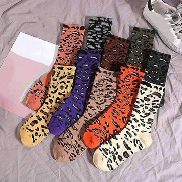 [leggycozy] (2pcs/Set) Leopard Pattern Funny & Casual Socks