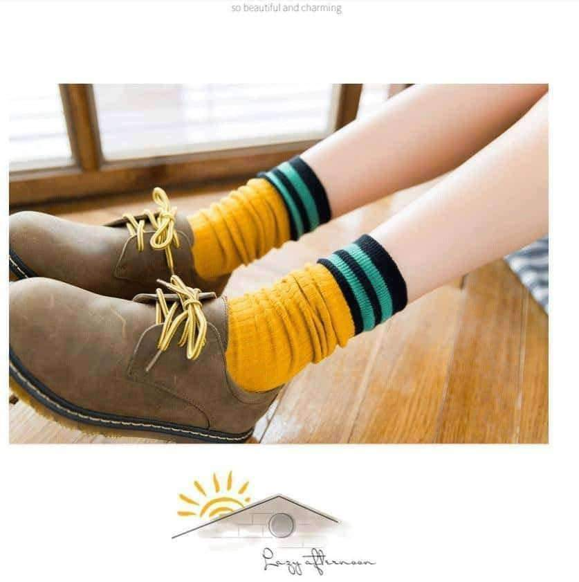 [leggycozy] (3 Pairs/Set) Breathable Simple Striped Socks