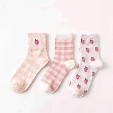 [leggycozy] (3 Pairs/Set) Candy Color Embroidery Strawberry Socks