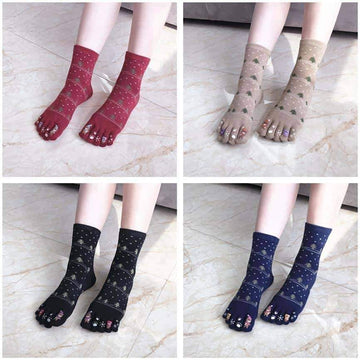 [leggycozy] (4 Pairs/Set) Five Finger Cotton Socks with Separate Toes