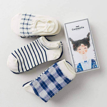 [leggycozy] (4pairs/Set) Blue Plaid College Style Simple Socks in a Gift Box