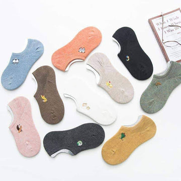 [leggycozy] (5 pairs/Set) Cotton Solid Cute Print Invisible Low-Cut Socks