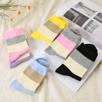 leggycozy socks [leggycozy] (5 Pairs/Set) Embroidered Heart Striped Casual Socks