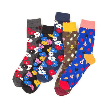 [leggycozy] (5 Pairs/Set) Harajuku Styles High Quality Colorful Flowers Combed Socks