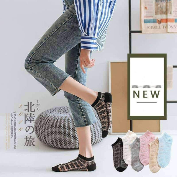 leggycozy socks [leggycozy] (5 Pairs/Set) Harajuku Summer Thin Silk Cotton Socks