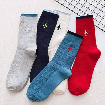 [leggycozy] (5 Pairs/Set) High Quality Embroidery Aircraft Dressy Cotton Socks