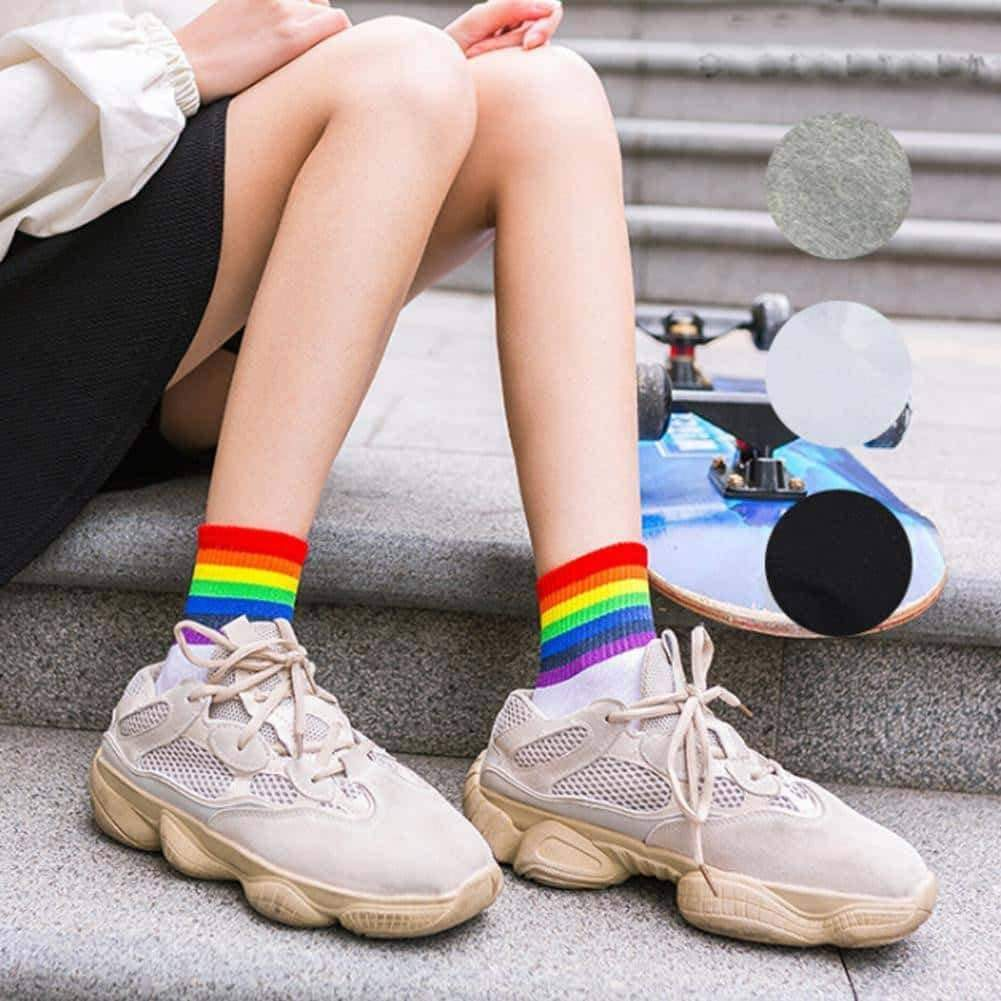 [leggycozy] (5 Pairs/Set) Rainbow Colored Stripe Casual Socks
