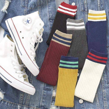 [leggycozy] (6pairs/Set) Preppy Style Colorful Stripes Breathable Sweat-Absorbent Long Socks