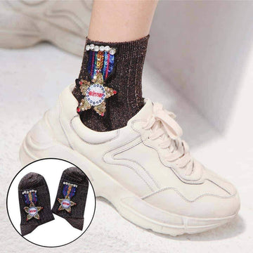 [leggycozy] Bling Rhinestone Sequins Star Medal Applique Socks