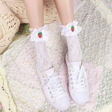 [leggycozy] Bow Strawberry Mesh Laced Socks