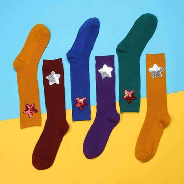 [leggycozy] Chic Streetwear Candy Color Handmade Stars Sequin Socks