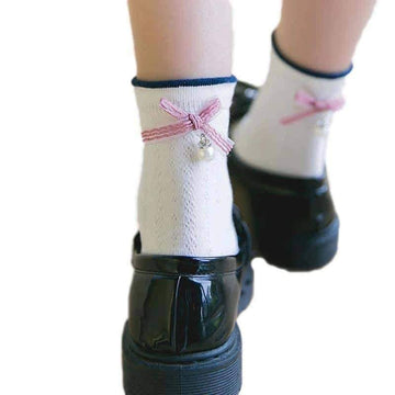 [leggycozy] College Style Candy Color Bow-Knot Pearl Socks