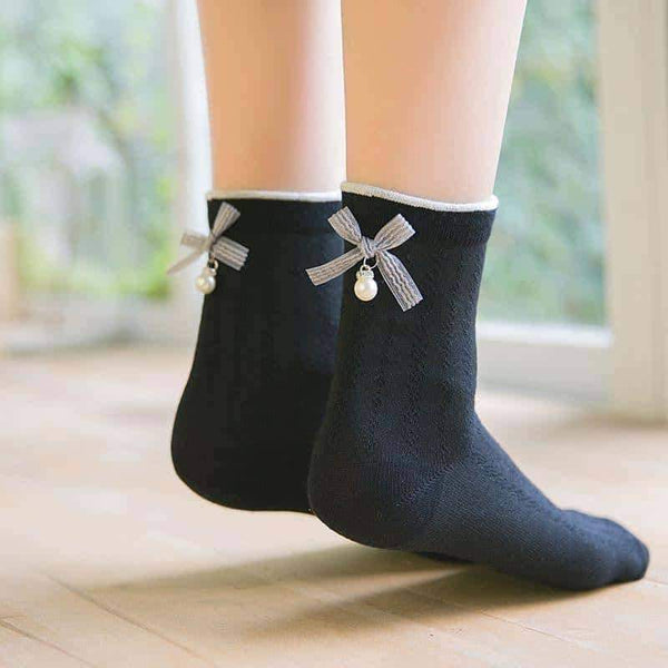 leggycozy socks [leggycozy] College Style Candy Color Bow-Knot Pearl Socks