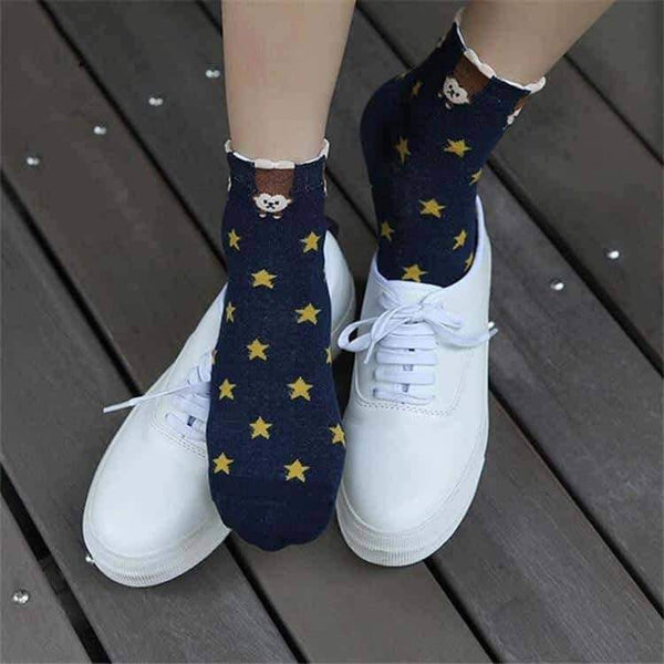 leggycozy socks [leggycozy] Cute Animal Cartoon Ankle Cotton Socks -Panda Fox Pig Cat Dog Bear