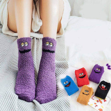 [leggycozy] Cute Funny Cartoon Thick Velvet Coral Fleece Floor Socks