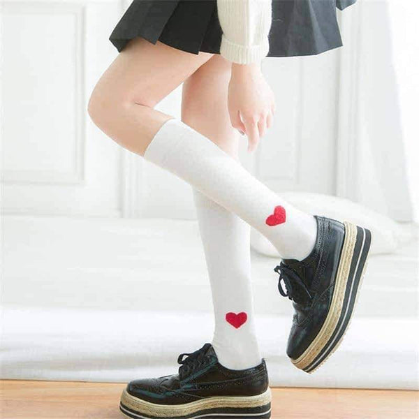 leggycozy socks [leggycozy] Cute Heart Shaped Knee Socks