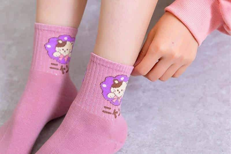 [leggycozy] Cute Japanese Cartoon Animal Cotton Socks -Panda Puppy Kitten