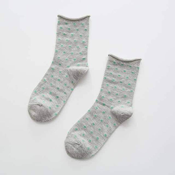 leggycozy socks [leggycozy] Cute Polka Dot Pattern Sweat-Absorbent Breathable Cotton Socks
