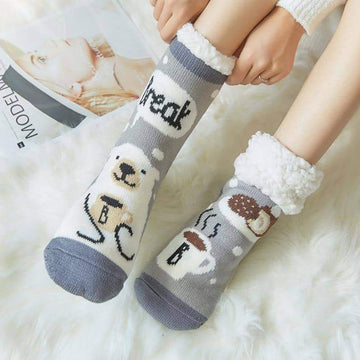 [leggycozy] Double Thickened Fleece Christmas Cartoon Fluffy Socks -16 Colors