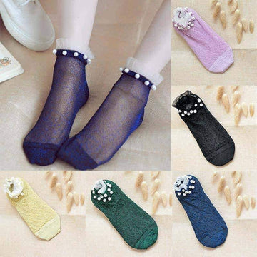 [leggycozy] Elastic Ultra-Thin Pearl & Lace Sheer Ankle Socks