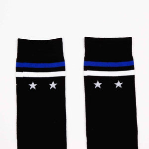 Open image in slideshow, [leggycozy] Elegant Star Stripe Knee High Cotton Socks -Black Purple