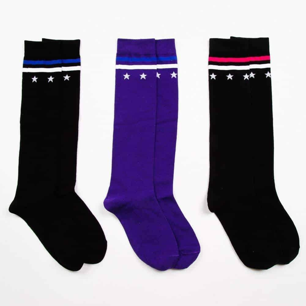 [leggycozy] Elegant Star Stripe Knee High Cotton Socks -Black Purple