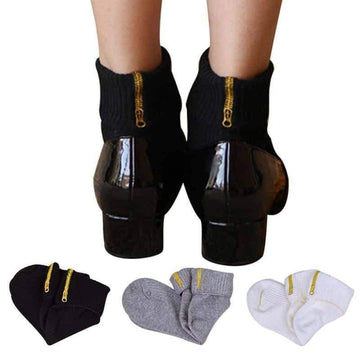 [leggycozy] Embroidery Zipper Letter Striped Combed Cotton Socks
